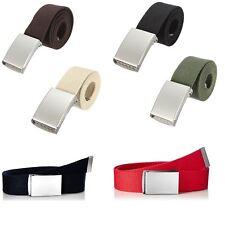 "Men Women Ladies Unisex Cotton Canvas Fabric Webbing Silver Buckle Belt 51"" Army"