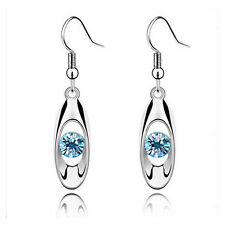 New Silver Women Water Drop Earrings Crystal Dangle Hook Earring Fashion Jewelry