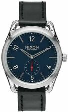NIXON 39mm C39 LEATHER Blue Face Men's Watch A459 008-00 NEW!