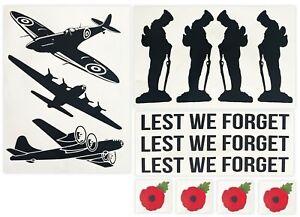 Spitfire Sticker Set for Vespa Scomadi Scooter Poppy Decals Lest We Forget Matt