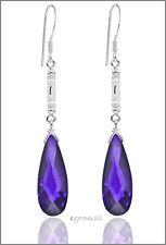 Sterling Silver Dangle Drop Earrings CZ Amethyst #53094