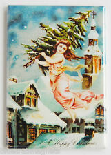 Angel with Christmas Tree FRIDGE MAGNET (2.5 x 3.5 inches)