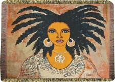 Talk To Me ~ African American Woman Ebony Tapestry Lap Blanket ~ Gbaby Designs