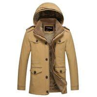 Winter Mens Pure Cotton Hooded Fleece Lined Jacket Windbreaker Plain Outwear New