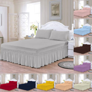 Plain Dyed Deep Fitted Valance Sheet Polycotton Sheet Single Double King S.King