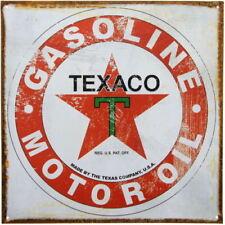 "TEXACO GASOLINE MOTOROIL 12"" X 12"" METAL SIGN GAS GARAGE DISTRESSED VINTAGE LOOK"