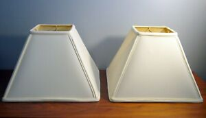 Pair of 2 ROBERT ABBEY Modernist Lamp Shade Empire Square Ivory MCM