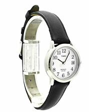 Timex Womens Wrist Watch Basic Big Date Easy Reader Black Leather Strap