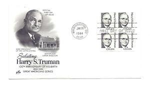 1862 20c Harry S Truman, ArtCraft block of 4  FDC