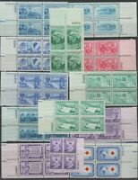 US,1004-16,1952 COMPLETE YEAR,PLATE BLOCKS,MNH VF, COLLECTION MINT NH,OG