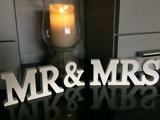 WHITE WOODEN 'MR & MRS' FREESTANDING WEDDING VENUE PLAQUE FOR GUEST BOOK TABLE