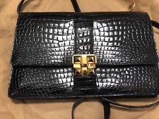 AUTHENTIC Vintage Black  Crocodile Porosus Medor bag/ clutch by Hermes GHW