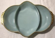 Vtg FireKing Turquoise Divided Serving Tray Delphite Blue Fire King Relish Dish