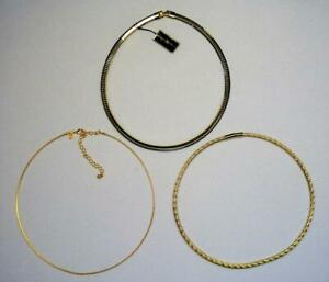 """3 PCS SET JOAN RIVERS HEAVY GOLD PLATE OMEGA, FANCY CURB CHAIN NECKLACE 16""""L NEW"""