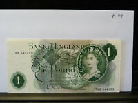 OLD GREEN  ONE POUND NOTE signed O'Brien 76B 544259  (20.8.187)