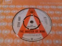 "STEVE HART - THE MASTER OF MAN ' DEMO ' 7"" 45 RPM / RARE UK CBS 3732 PROMO"