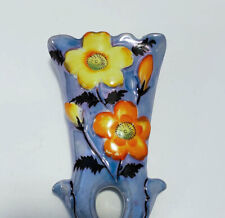 Vintage Lusterware Wall Pocket Planter Hand Painted Japan FREE SHIPPING