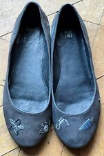 Camper Twins Flat Charcoal Nubuck Shoes For Women Size UK 4 Jellyfish Seahorse