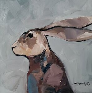 JOSE TRUJILLO Oil Painting IMPRESSIONISM RABBIT PORTRAIT EXPRESSIONISM SIGNED