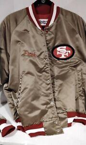 VINTAGE SAN FRANCISCO 49ERS FORTY NINERS CHALK LINE SATIN JACKET LARGE -Frank-