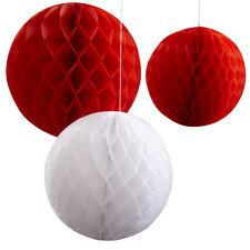 Confezione da 3 Rosso e Bianco a Nido D'Ape Palla decorazioni, Decorazioni Festa di Natale