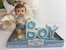 12Baby Shower It's A Boy Party Favors Decoration Boy Blue Figurine Gift Keepsake