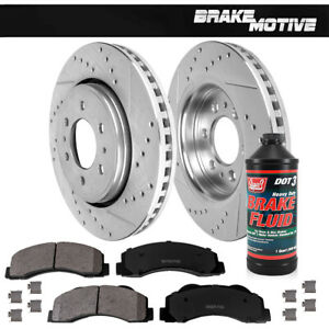 Front Drilled Slotted Brake Rotors and Ceramic Pads For Ford F-150 Expedition