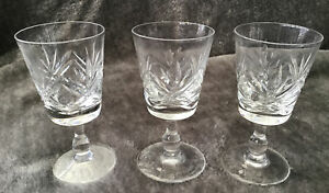 Lovely Vintage Set Of 3 Lead Cut Crystal Glass Sherry Liquer Glasses