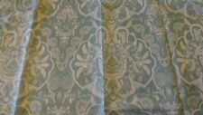 SHOWER CURTAIN  Fabric  Light Teal and Cream Print