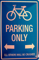 Bicycle Fahrrad Parking only Blechschild Schild gewölbt Tin Sign 20 x 30 cm