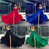 Sexy Deep V Neck Prom Dress Long Sleeve High Slit Formal Evening Party Gown S-XL
