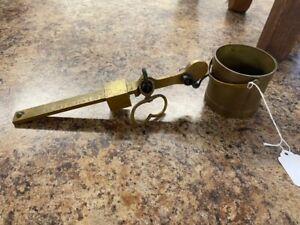 Antique Howe's Grain Tester hanging Scale Bucket Brass