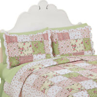 Country Bloom All Over Floral Patchwork-Style Quilted Pillow Sham
