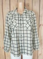 CORAL BAY Womens Size XL Petite Long Sleeve Shirt Button Down Pockets Poly Top