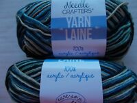 Needle Crafters variegated acrylic yarn, 6-ply, Desert Dusk, lot of 2(98 yds ea)