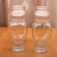 2 Clear Glass Footed Jars Canisters With Lids