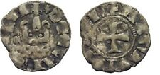 1316-1318 Crusaders Achaea(Greece)Mahaut of Hainaut Silver Denier Castle/Cross#3