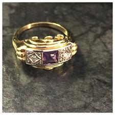 Antiker Goldring Amethyst & Diamanten 0,04ct 585er Gelbgold 14 Karat Ring Gr.51
