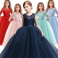 Flower Girl Long Dress Princess Party Wedding Bridesmaid Kids Formal Gown Dress