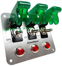 3 Toggle Switch LED Nitrous Activate PANEL Safety Covers Aircraft 12 Volt Green