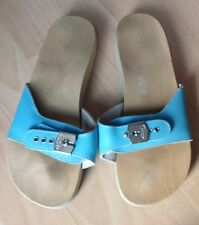 DR SCHOLL WOMENS BLUE LEATHER WOODED MULES SUMMER SANDALS SHOES SIZE UK 5 EU 38