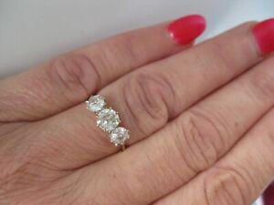 ANTIQUE 18CT GOLD OLD CUT DIAMOND TRILOGY RING SIZE M 1.38 + CARAT