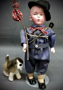 """Antique Heubach 8774 Whistling Jim AS """"HOBO JIM"""" Cabinet Character Doll Bisque"""