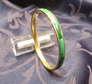 Malachite and Brass Bangle Bracelet - Vintage Style
