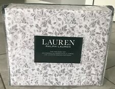 Ralph Lauren Twin Sheet Set 3 pc White Taupe Flowers Leaves Cotton New
