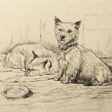 More details for art deco etching cairn terrier dog portrait christine mcgregor antique vintage 9