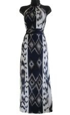 Grey White Geometrical Print Maxi Dress Length Size 10 12 14