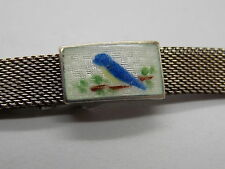 Antique Sterling Silver mesh Gemex watch band with enameled blue bird clasp 9mm