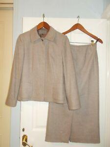 Jaeger Wool Cashmere Skirt Jacket Suit Herringbone Tweed 10 Oatmeal WORN ONCE