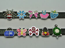 10 Assorted Alloy Enamel Slide Charm Fit 8mm Wristbands Bracelet Belt Pet Collar